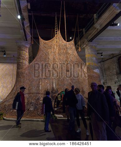 VENICE ITALY - MAY 10: Installation view of work by Ernesto Neto Um Sagrado Lugar (A Sacred Place) at the 57th Venice Biennale on May 10 2017