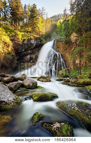 Beautiful Golling waterfall at spring in Austria
