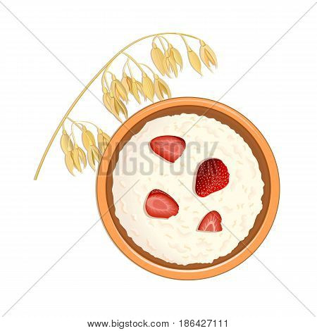 Tasty oatmeal with berries and Oat ears of grain. top view. close-up. Bowl with delicious porridge with strawberries. vector illustration. for food design, cooking, labels, decoration, tags