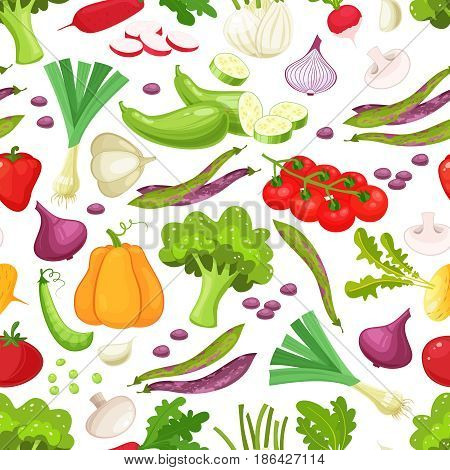 Assorted vegetables vector seamless pattern on white background. Pattern with colored vegetable. Cartoon stylevector illustration of harvest vegetable