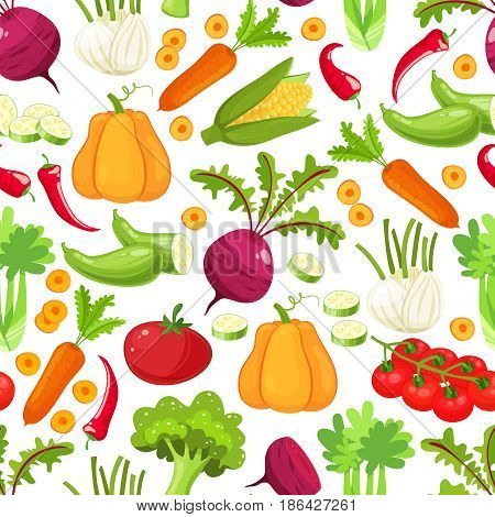 Seamless vector pattern background of vegetables. Vegetable illustration food and design drawing vegetable for healthy. Cartoon flat style