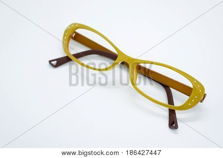 Modern fashionable spectacles on white background Glasses