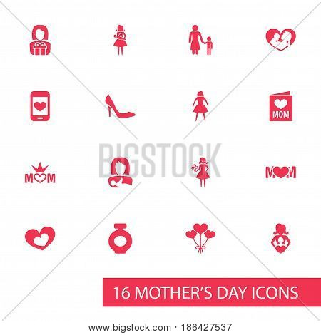 Mothers Day Icon Design Concept. Set Of 16 Such Elements As Fragrance, Design And Mom. Beautiful Symbols For Gift, Card And Screen.