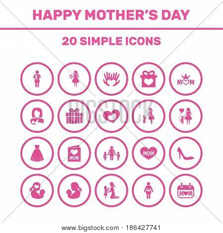 Mothers Day Icon Design Concept. Set Of 20 Such Elements As Holiday, Woman And Pregnancy. Beautiful Symbols For Kid, Pregnant And Gift.