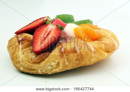 Danish Pastry With Strawberry, Kiwi And Tangarine