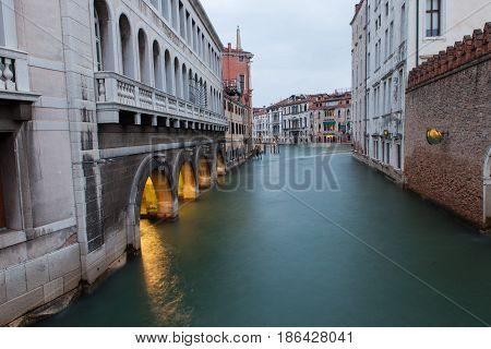 View of Venice canal at sunset Italy