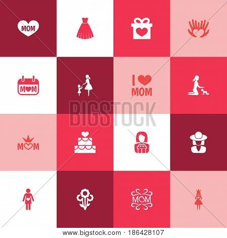 Mothers Day Icon Design Concept. Set Of 16 Such Elements As Hat, Evening Gown And Queen. Beautiful Symbols For Mother, Present And Playing.