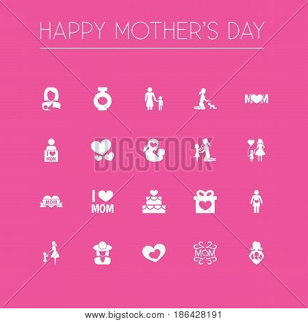 Mothers Day Icon Design Concept. Set Of 20 Such Elements As Emotion, Loving And Missus. Beautiful Symbols For Love, Mam And Pregnant.