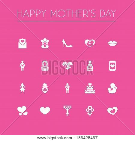 Mothers Day Icon Design Concept. Set Of 20 Such Elements As Hands, Letter, Shape. Beautiful Symbols For Pregnancy, Pastry And Bouquet.