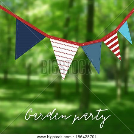 Birthday garden party. Brazilian june party. Festa junina. Party decoration with flags, modern blurred background. Vector illustration.
