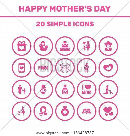 Mothers Day Icon Design Concept. Set Of 20 Such Elements As Protect, Mam And Fragrance. Beautiful Symbols For Infant, Woman And Fragrance.