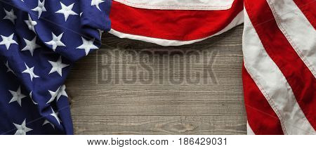 Red, white, and blue American flag for Memorial day or Veteran's day background