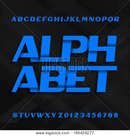 Abstract alphabet font. Effect type letters and numbers on a dark stripe background. Vector typeface for your design.
