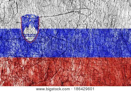 Grudge stone painted Slovenia flag close up