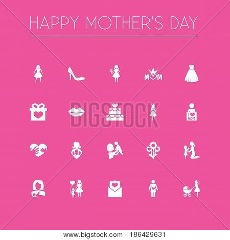Mothers Day Icon Design Concept. Set Of 20 Such Elements As Present, Female And Pregnancy. Beautiful Symbols For Care, Bouquet And Cake.