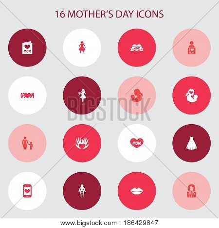 Mothers Day Icon Design Concept. Set Of 16 Such Elements As Mouth, Relations And Madame. Beautiful Symbols For Post, Son And Present.