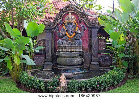 Beautiful statue from Hanuman in a garden on Bali Indonesia