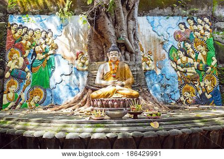 Buddha statue under the Bodhi tree in Bali Indonesia