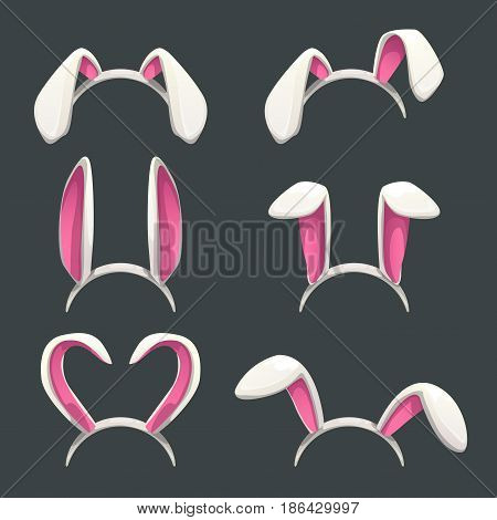 Funny bunny white ears set. Isolated vector icons.