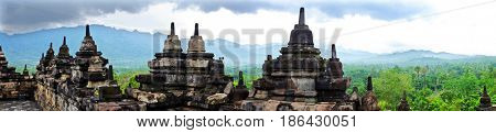 Panorama from the Borobudur Temple in central Java in Indonesia. This famous Buddhist temple is dating from the 8th and 9th centuries