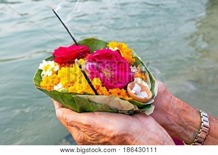 Puja at the river Ganga in India