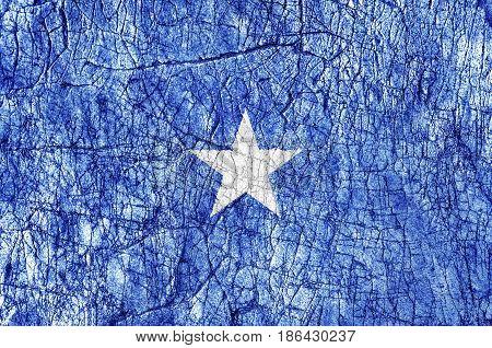 Grudge stone painted Somalia flag close up