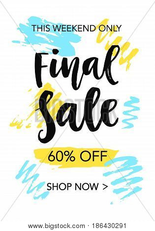 Final Sale mobile banner template for online shopping. Vector design elements, isolated on white.