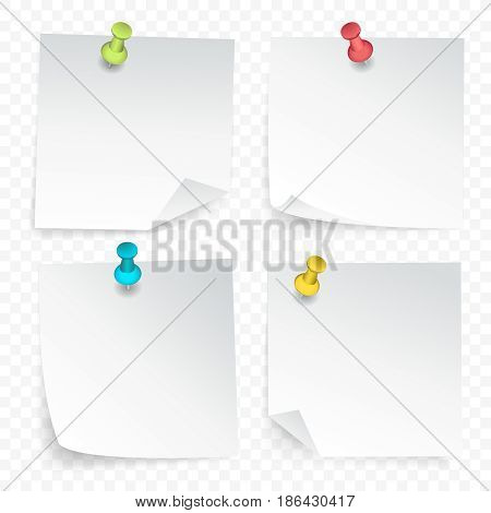 Set of white paper clean sheets with curled corner pinned by colored pushpins on transparent background  isolated vector illustration