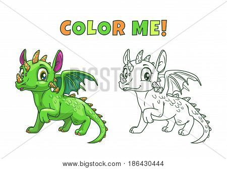 Cute cartoon green dragon, colorful and outline illustration. Vector art for kids coloring book.