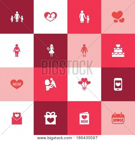 Mothers Day Icon Design Concept. Set Of 16 Such Elements As Invitation, People And Pregnancy. Beautiful Symbols For Holiday, Decoration And Screen.