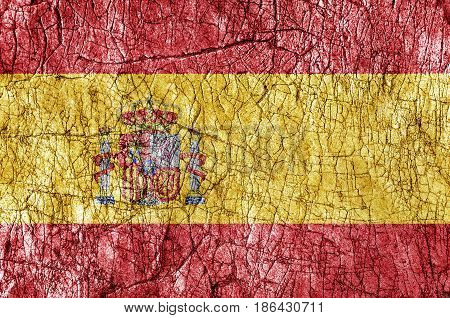 Grudge stone painted Spain flag close up