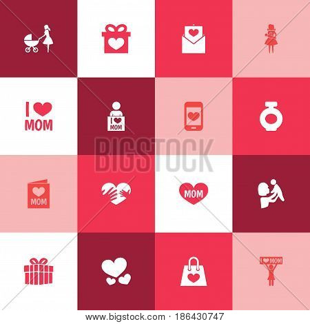 Mothers Day Icon Design Concept. Set Of 16 Such Elements As Text, Package And Gift. Beautiful Symbols For Soul, Ribbon And Shopping.