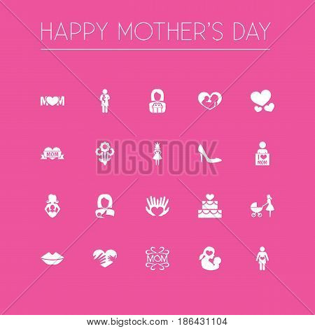 Mothers Day Icon Design Concept. Set Of 20 Such Elements As I Love Mom, Missus And Flowers. Beautiful Symbols For Plant, Lips And Mother.