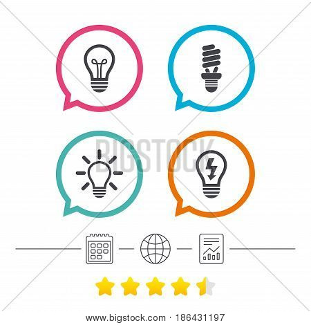 Light lamp icons. Fluorescent lamp bulb symbols. Energy saving. Idea and success sign. Calendar, internet globe and report linear icons. Star vote ranking. Vector