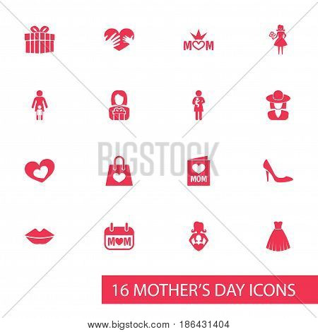 Mothers Day Icon Design Concept. Set Of 16 Such Elements As Stiletto, Gift To Mother And Woman. Beautiful Symbols For Card, Headgear And Hand.