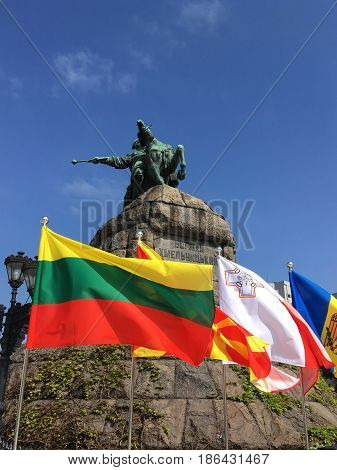 KYIV, UKRAINE - MAY 4, 2017. Eurovision 2017 fan zone. Flags of the participating countries around the  monument to Bogdan Khmelnitsky on Sofia square