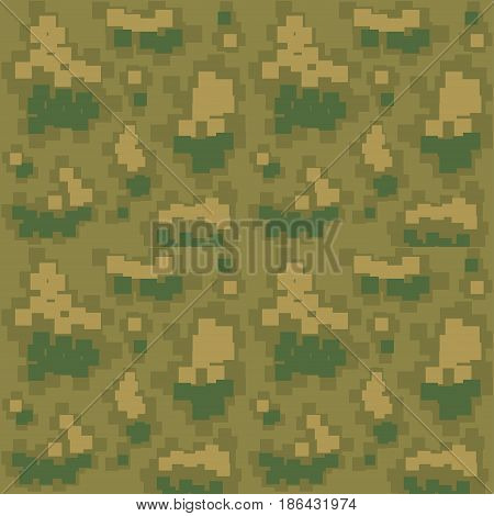 Seamless camouflage pattern. Khaki color. Vector illustration