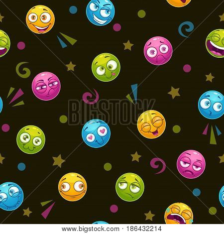 Seamless pattern with colorful funny comic round faces. Vector texture.