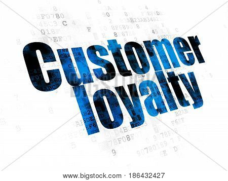 Advertising concept: Pixelated blue text Customer Loyalty on Digital background