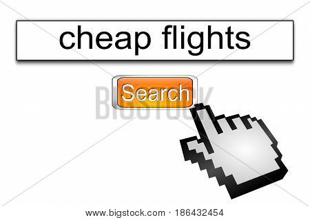 orange Internet web search engine cheap flights - 3D illustration