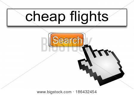 orange Internet web search engine cheap flights - 3D illustration