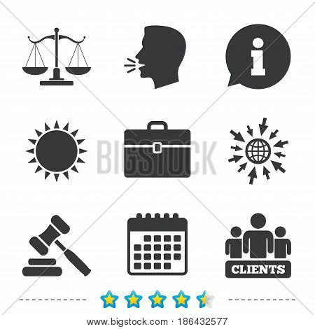 Scales of Justice icon. Group of clients symbol. Auction hammer sign. Law judge gavel. Court of law. Information, go to web and calendar icons. Sun and loud speak symbol. Vector