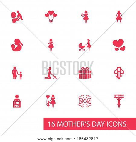 Mothers Day Icon Design Concept. Set Of 16 Such Elements As Decoration, Female And Mam. Beautiful Symbols For Mother, Present And Heart.