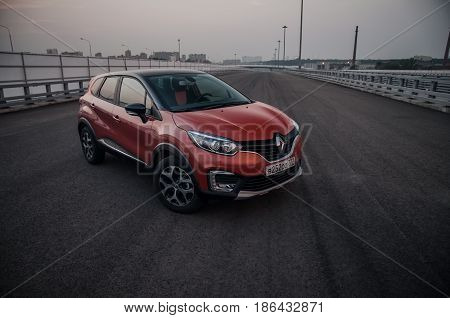 Russia, Moscow - July 25, 2016. Renault Kaptur / Captur Crossover Car, Front-side View
