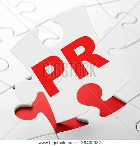 Marketing concept: PR on White puzzle pieces background, 3D rendering