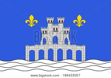 Flag of Pontoise is a commune in the northwestern suburbs of Paris France. Vector illustration