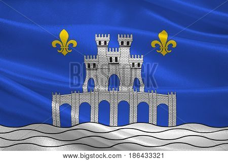 Flag of Pontoise is a commune in the northwestern suburbs of Paris France. 3d illustration