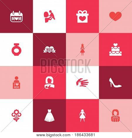 Mothers Day Icon Design Concept. Set Of 16 Such Elements As Kid, Evening Gown And Loving. Beautiful Symbols For Stiletto, Heeled And Palm.
