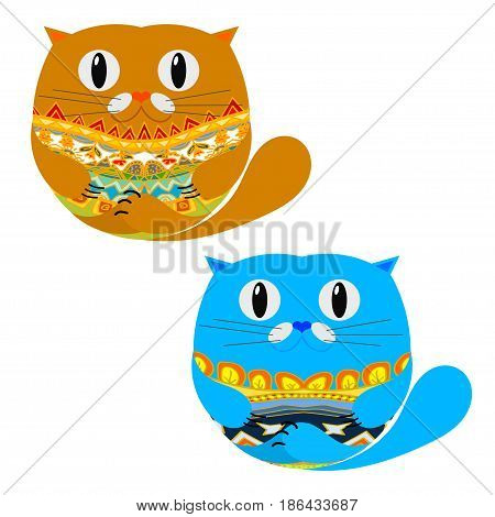 Two Cute Cat. Isolated on white background. Vector illustration