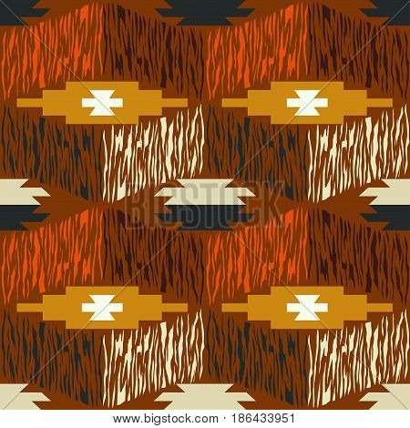 Bright abstract ethnic seamless pattern. Vector illustration